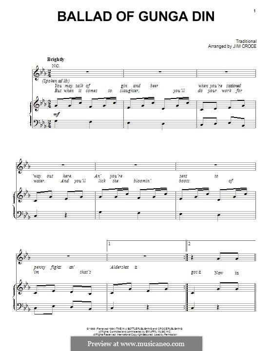 Ballad of Gunga Din: Für Stimme und Klavier (oder Gitarre) by folklore