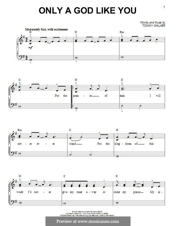 Only a God Like You: Für Klavier by Tommy Walker