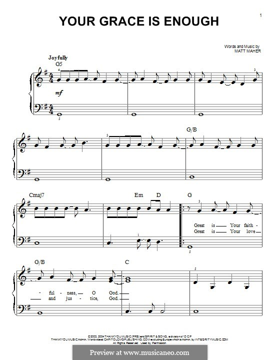 Your Grace is Enough: Für Klavier by Matt Maher