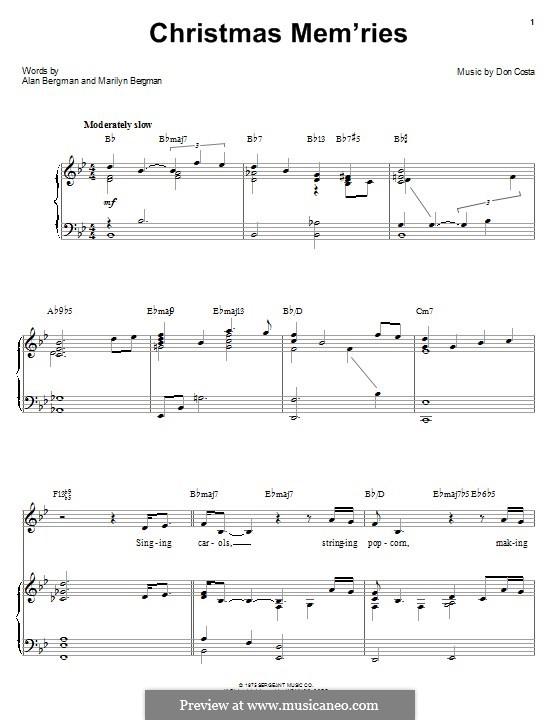 Christmas Mem'ries: Für Stimme mit Klavier oder Gitarre (Barbra Streisand) by Don Costa