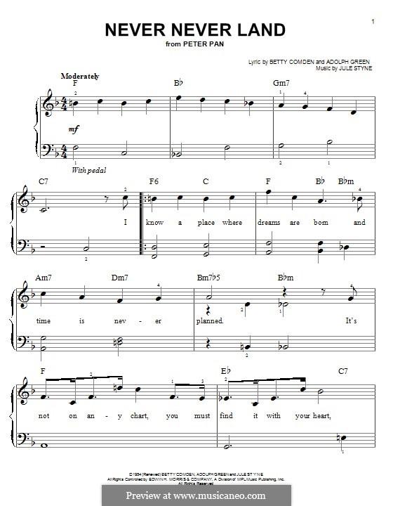 Never Never Land: Für Klavier by Jule Styne