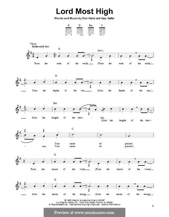 Lord Most High (The Martins): Für Gitarre mit Tabulatur by Don F. Harris, Gary Sadler