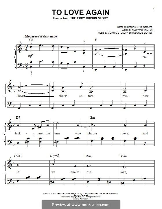 To Love Again: Für Klavier by Morris Stoloff, George Sidney