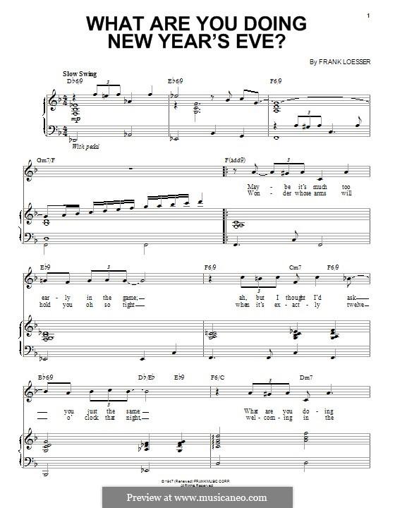 What are You Doing New Year's Eve?: Für Stimme und Klavier (oder Gitarre) by Frank Loesser