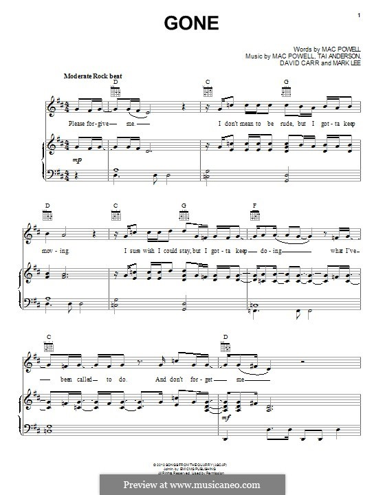 Gone (Third Day): Für Stimme und Klavier (oder Gitarre) by Tai Anderson, David Carr, Mac Powell, Mark Lee