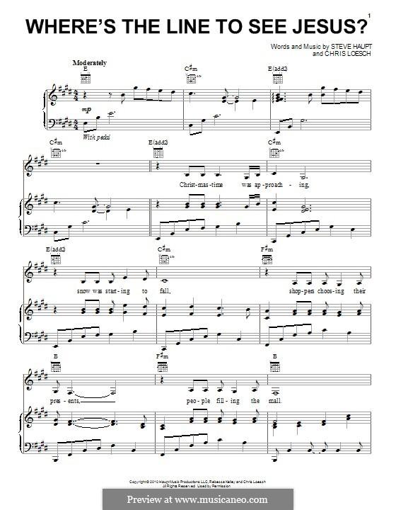 Where's the Line to See Jesus?: Für Stimme und Klavier (oder Gitarre) by Steve Haupt, Chris Loesch
