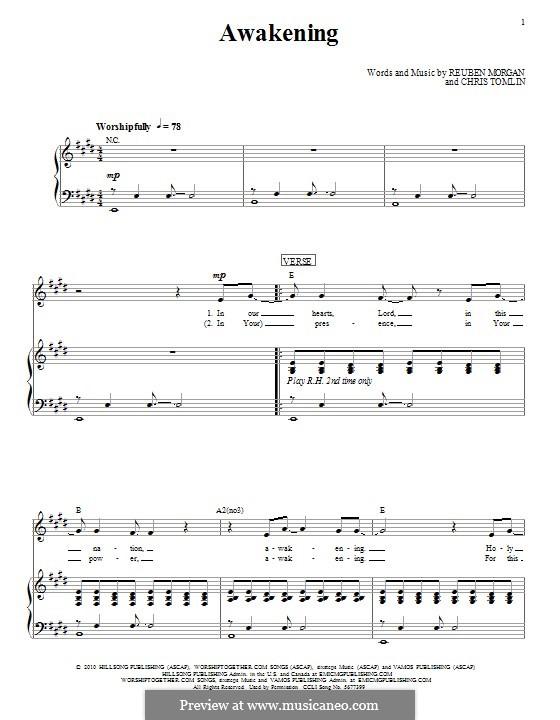 Awakening (Passion): Für Stimme und Klavier (oder Gitarre) by Chris Tomlin, Reuben Morgan