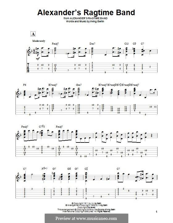 Alexander's Ragtime Band: Für Gitarre mit Tabulatur by Irving Berlin
