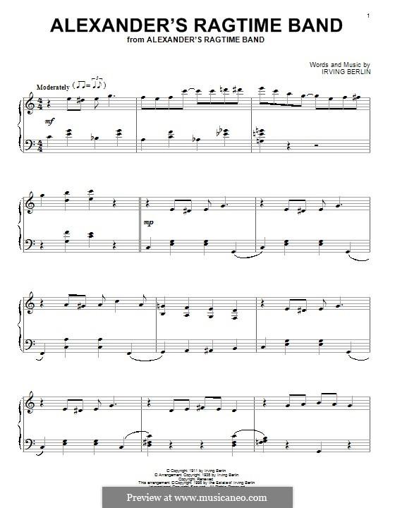 Alexander's Ragtime Band: Für Klavier by Irving Berlin