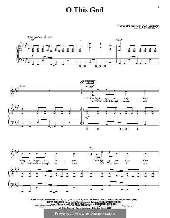 O This God: Für Stimme und Klavier (oder Gitarre) by Jonas Myrin, Matt Redman