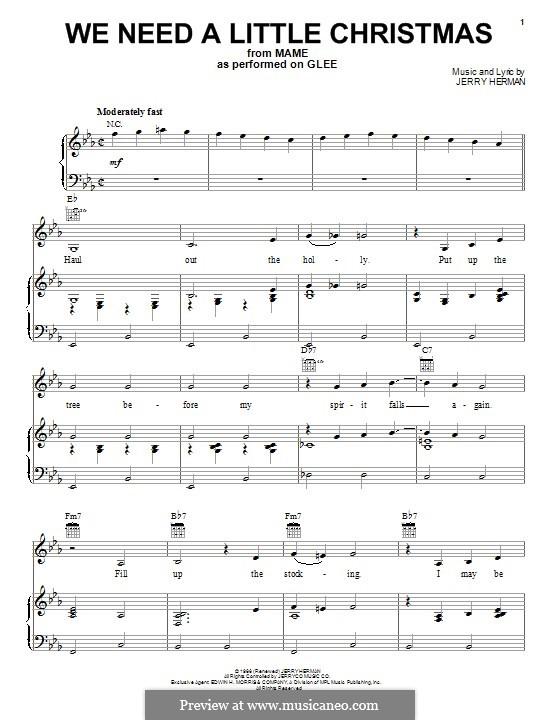 We Need a Little Christmas: Für Stimme und Klavier (oder Gitarre) by Jerry Herman