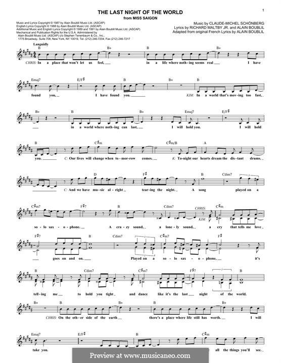 The Last Night of the World: Text und Akkorde by Claude-Michel Schönberg