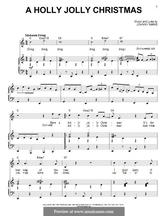 A Holly Jolly Christmas: Für Stimme und Klavier by Johnny Marks