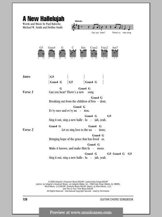 A New Hallelujah: Text und Akkorde by Michael W. Smith, Paul Baloche, Deborah D. Smith