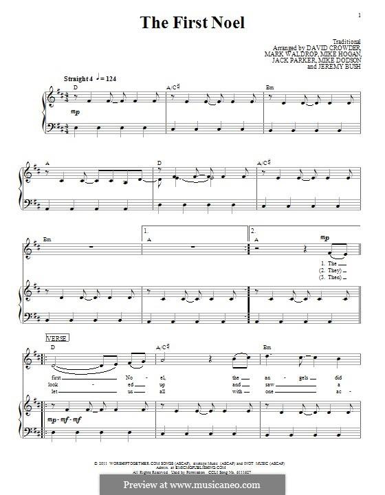 The First Nowell (The First Noël), Printable scores: Für Stimme und Klavier (oder Gitarre) by folklore