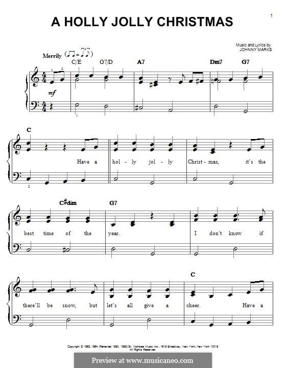 A Holly Jolly Christmas: Für Klavier by Johnny Marks