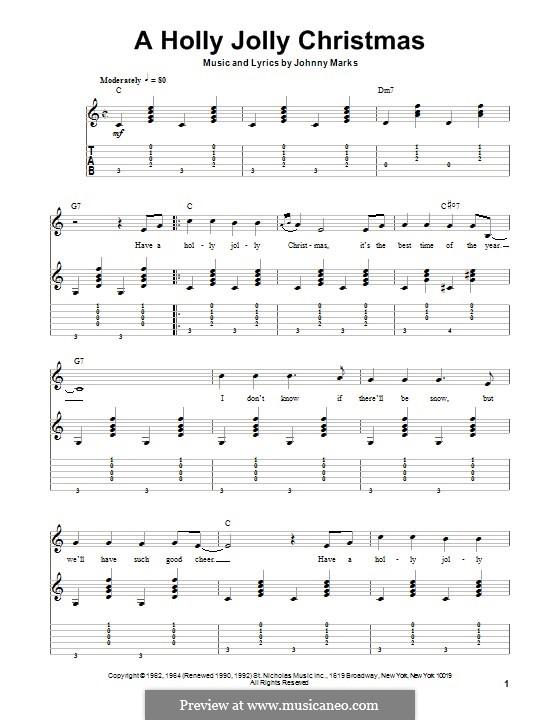 A Holly Jolly Christmas: Für Gitarre mit Tabulatur by Johnny Marks