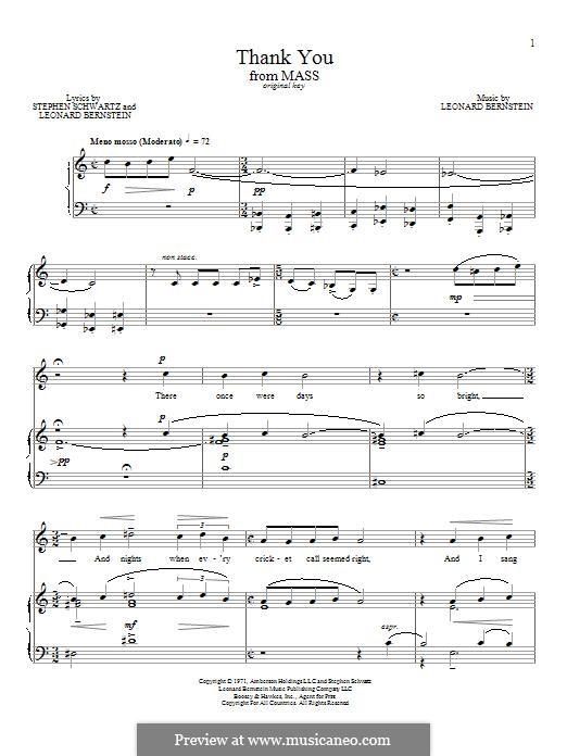 Thank You: Für Stimme und Klavier by Leonard Bernstein