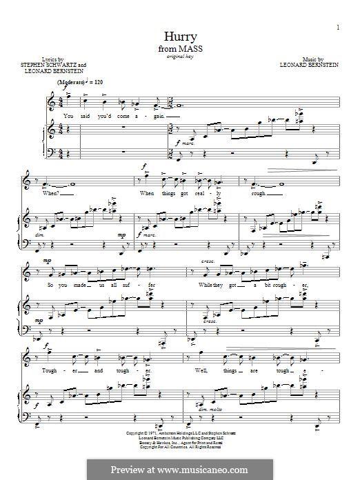 Hurry: Für Stimme und Klavier by Leonard Bernstein