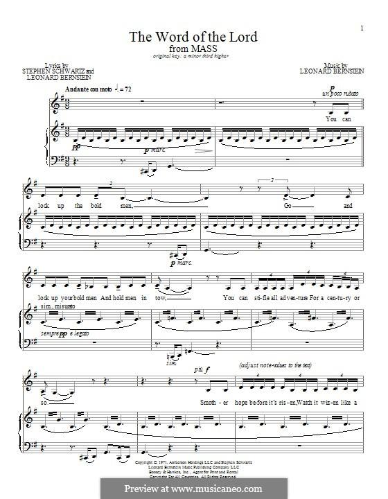 The Word Of the Lord: Für Stimme und Klavier by Leonard Bernstein