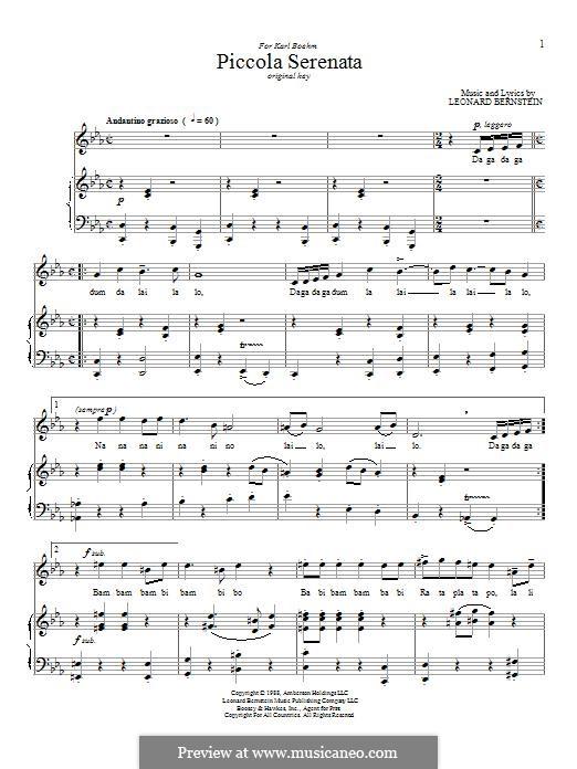 Piccola Serenata: Für Stimme und Klavier by Leonard Bernstein