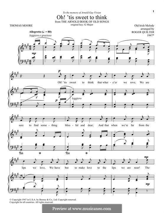 Oh! 'Tis Sweet To Think: Für Stimme und Klavier by folklore
