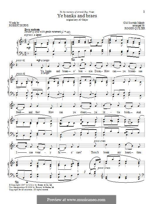 Ye Banks and Braes: Für Stimme und Klavier by folklore