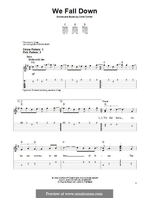 We Fall Down: Für Gitarre mit Tabulatur by Chris Tomlin