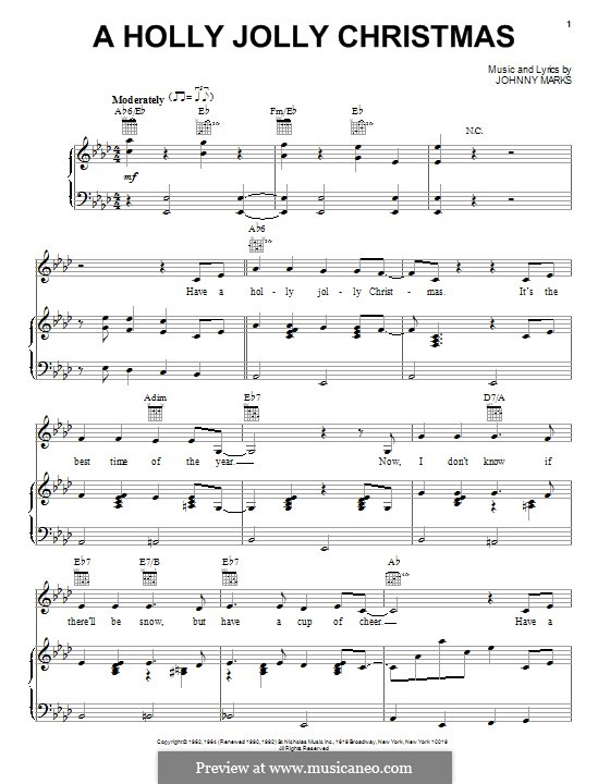 A Holly Jolly Christmas: Für Stimme und Klavier (oder Gitarre) by Johnny Marks