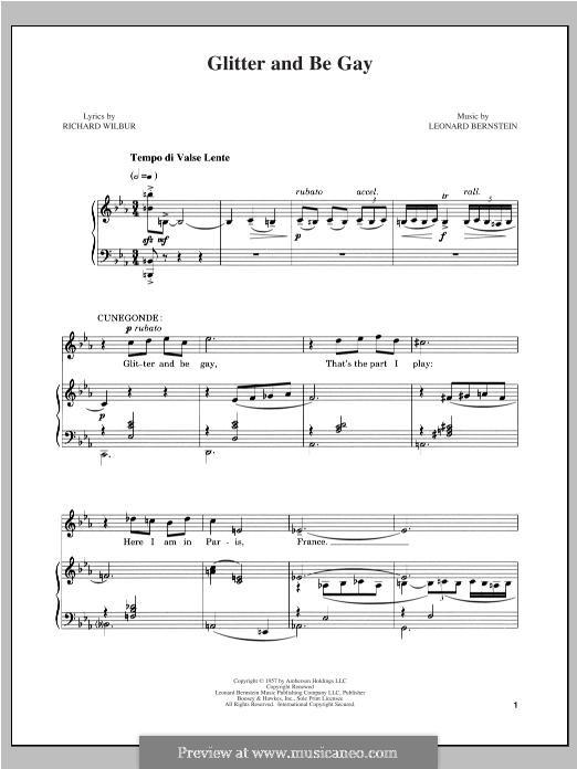 Glitter and Be Gay: Für Stimme und Klavier by Leonard Bernstein
