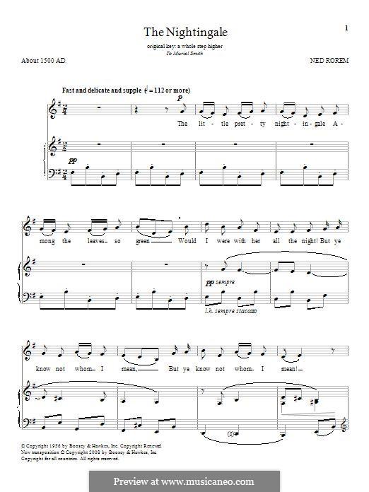 The Nightingale: Für Stimme und Klavier by Ned Rorem