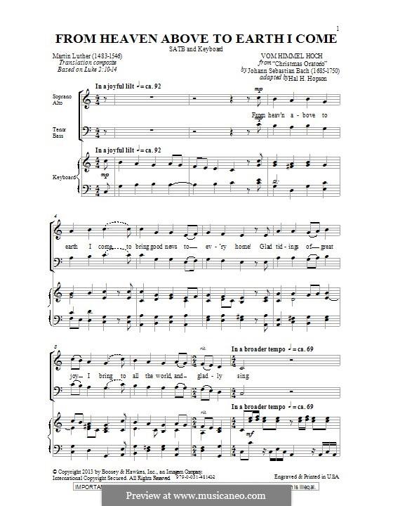 From Heaven Above to Earth I Come: Für gemischten Chor by Johann Sebastian Bach