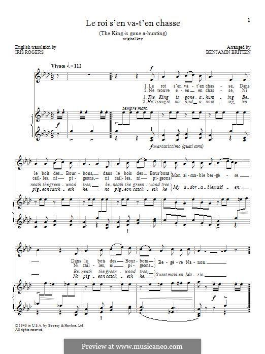 Le roi s'en va-t'en chasse: Für Stimme und Klavier by folklore