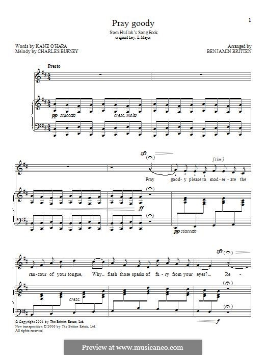 Pray goody: Für Stimme und Klavier by Charles Burney
