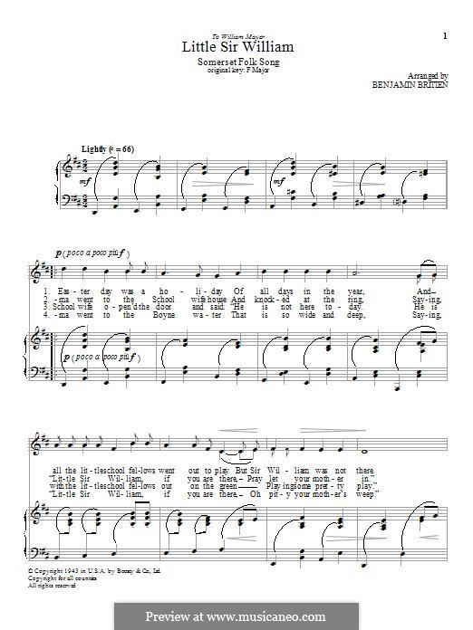 Little Sir William: Für Stimme und Klavier by folklore