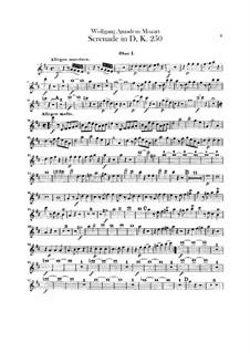 Serenade für Orchester Nr.7 in D-Dur 'Haffner', K.250: Oboenstimme by Wolfgang Amadeus Mozart