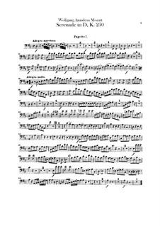 Serenade für Orchester Nr.7 in D-Dur 'Haffner', K.250: Fagottenstimme by Wolfgang Amadeus Mozart