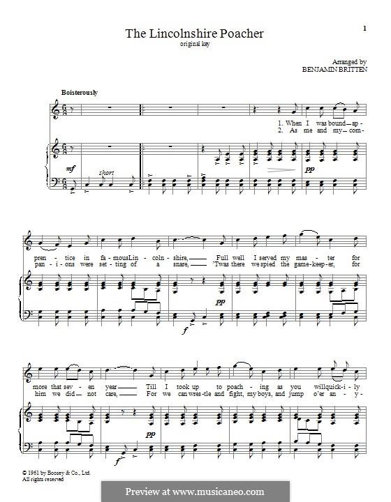 The Lincolnshire Poacher: Für Stimme und Klavier by folklore