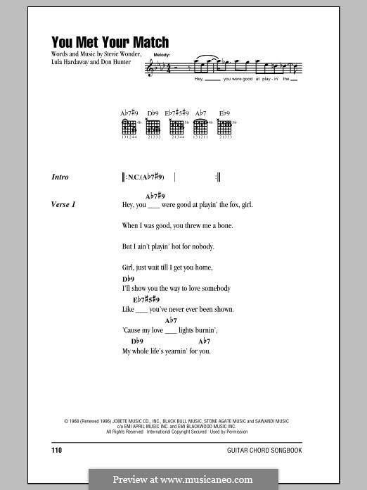 You Met Your Match: Text und Akkorde by Stevie Wonder