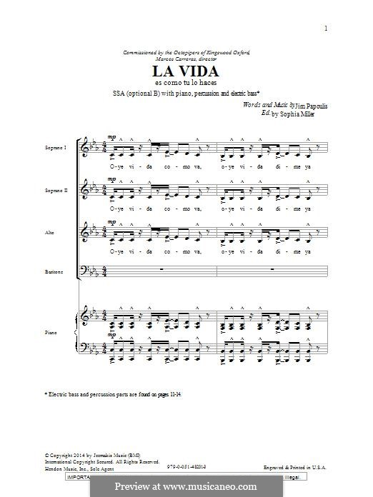 La Vida: Für gemischten Chor by Jim Papoulis