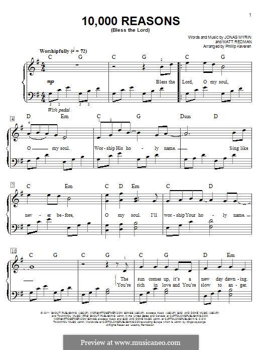 10,000 Reasons (Bless the Lord): Für Klavier by Jonas Myrin, Matt Redman