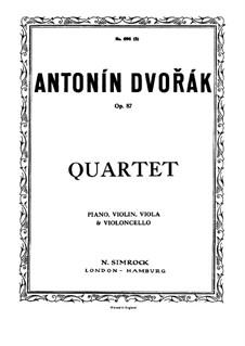 Klavierquartett Nr.2 in Es-Dur, B.162 Op.87: Vollpartitur, Stimmen by Antonín Dvořák