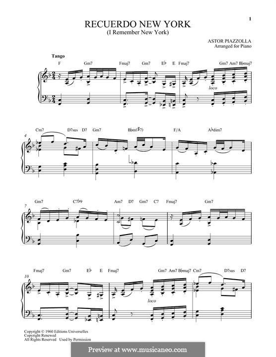 Recuerdo New York: Für Klavier by Astor Piazzolla