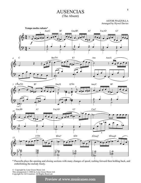Ausencias: Für Klavier by Astor Piazzolla