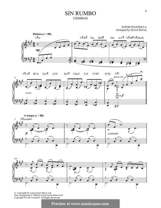 Sin Rumbo: Für Klavier by Astor Piazzolla