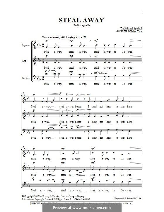 Steal Away (Steal Away To Jesus): Für gemischten Chor by folklore