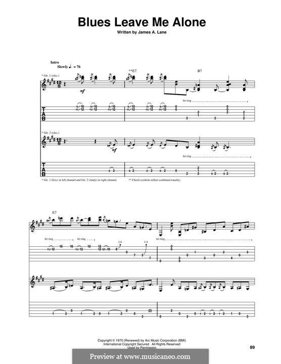 Blues Leave Me Alone: Für Gitarre mit Tabulatur by Eric Clapton
