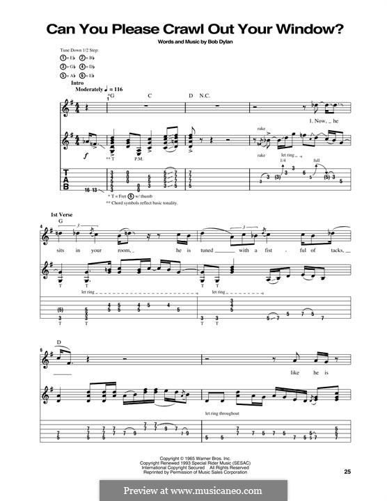 Can You Please Crawl Out Your Window?: Für Gitarre mit Tabulatur by Bob Dylan