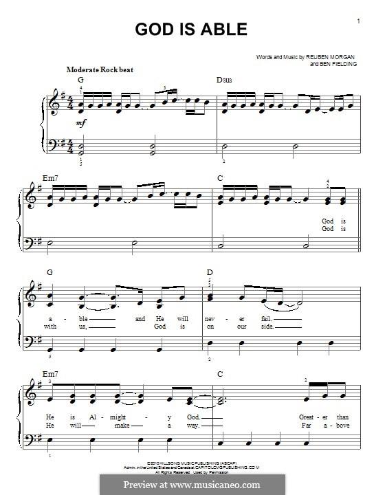 God Is Able (Hillsong UNITED): Für Klavier by Ben Fielding, Reuben Morgan