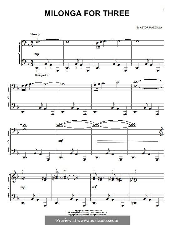 Milonga for Three: Für Klavier by Astor Piazzolla
